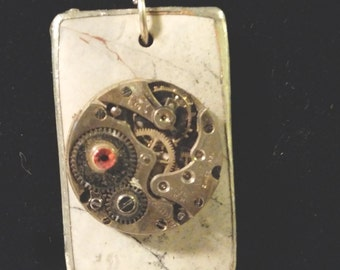 Christmas Sale - Steam Punk Watch Movement Necklace - GREY STONE
