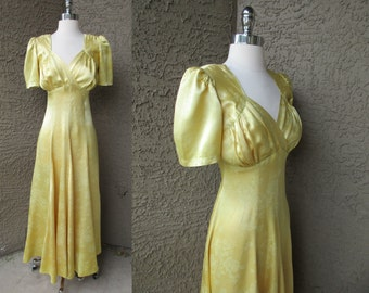 40s Gold Brocade Dress Bias Cut Empire Waist Hollywood Starlet Full Lgth Gown M