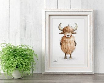 Yak - Printable Art - Nursery art - Nursery decor - Kids room decor - Children's art - Children's wall art - Kids wall art - Baby room
