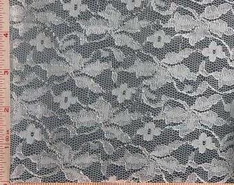 "White Flower Lace Fabric Nylon Rayon 52-54"""
