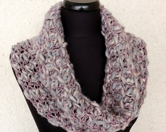Crochet Cowl Scarf - Multicolor Lilac - Gray Scarf - Crochet Neck Warmer - Women's Scarf - Handmade Crochet Gift For Her - Ready to Ship