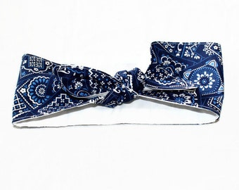 Navy Blue Bandana  Women's 1940's style vintage inspired head wrap head scarf rockabilly headband hankerchief paisley top knot