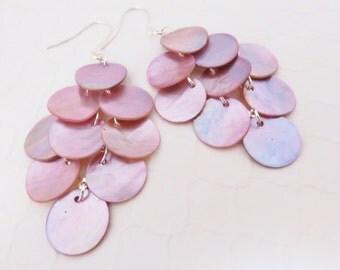 Long Shell Earrings - Mussel Shell Earrings, Light Pink, Rose Quartz, Big Earrings, Beach Jewelry, Beach Wedding, Chandelier Earrings, Boho