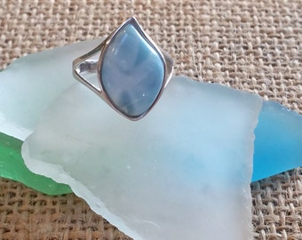 Teardrop Larimar ring -925 Sterling Silver -  Dominican Larimar - Calming Stone - healing stone