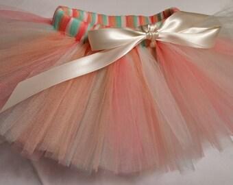 Coral Ivory Mint Peach Tutu, infant tutu, baby tutu, newborn tutu, toddler tutu, girl tutu, wedding tutu, birthday tutu, preemie tutu, tutu