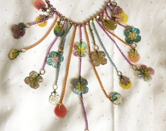 Necklace vintage, breastplate, multicolor, Reminiscense.
