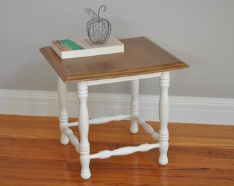 Cute Vintage Occasional Table - White with sealed timber top, decorative legs, cottage, provincial, vintage
