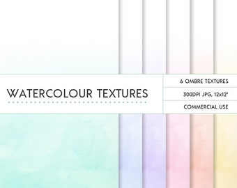 Pastel ombre watercolor digital papers 12x12