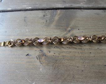 Vintage Florenza Gold Tone Rhinestone Bracelet