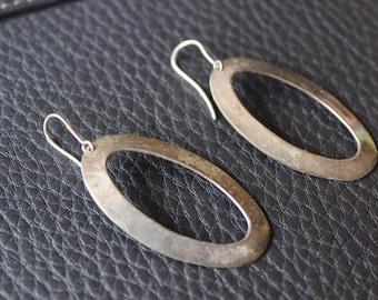 Vintage Sterling Silver Dangle Circle Earrings