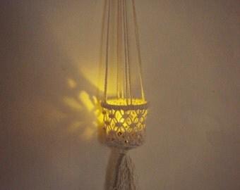 Candleholder. Hanging candleholder. Macrame candleholder.  Flameless candle holder.  Decorative candleholder. Bedroom hanging candleholder.