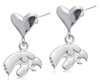 Iowa Heart Post Earrings, Hawkeyes Silver Jewelry, UIA-6224