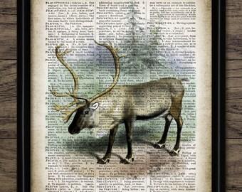 Vintage Caribou Print On Dictionary Page Background - Caribou Illustration - Reindeer - Hunting Art - Single Print #1312 - INSTANT DOWNLOAD