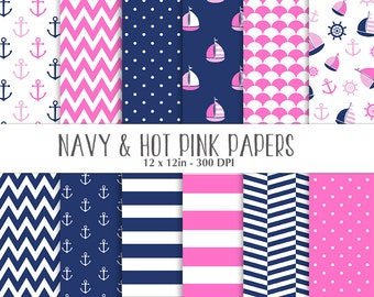 ON SALE Nautical Navy Hot Pink Papers - Scrapbooking Papers - Commercial Use - Sailboat - Anchor - Navy and Pink Nautical Papers