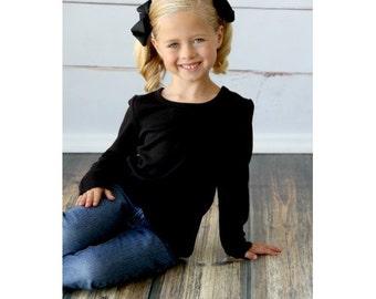 Girl's Black Long Sleeve Shirt