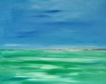 "20x20"" Original Seascape Art Blue Green Abstract Seascape Painting Blue Green Painting Blue Sky Green Water 20x20 Seascape Acrylic Canvas"