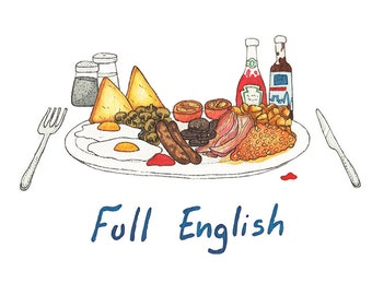 SALE - Best of British Meals - A5 Full English Breakfast Print