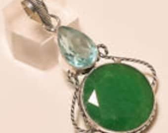 "Quartz Emerald Appatite Pendant 925 Silver 2.10""Lucky For Love,Gifts Under 10,20,30.Pendants Under 10,Statement Jewelry,UK Seller,Unique."