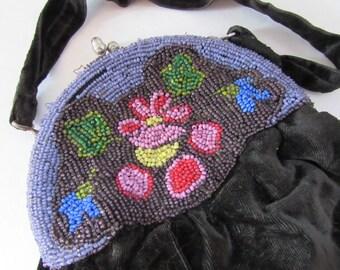 Antique Purse Pouch Style Purse Black Velvet Pouch Seed Bead Decoration Purple Flower Design Victorian Style Edwardian Style Flapper Style