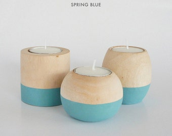 """Wooden Candle Holders in """"Spring Blue"""""""