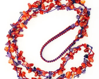 Macrame amethyst and coral chip necklace