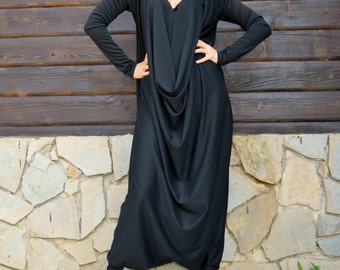 Black Jersey Jumpsuit, Black Plus Size Jumpsuit, Plus Size Jumpsuit, Loose Jumpsuit TJ10 by TEYXO