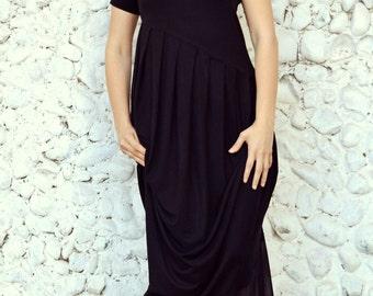 Black Asymmetric Maxi Dress / Extravagant Maxi Dress / Plus Size Black Dress TDK32