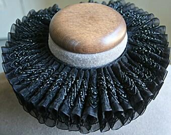 Black Beaded Ruff Collar