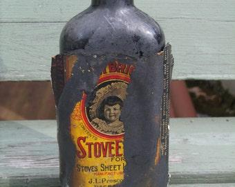 Antique, stove polish bottle, J L Prescott Co., Edwardian Housekeeping, stove black
