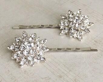 Rhinestone Hair Pins, Rhinestone Bobby Pins, Crystal Hair Pins, Bridal Hair Pins, Bridesmaid Hair Pins, Rhinestone Hair Clips, Silver Pins