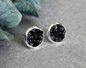 Black Stud Earrings, Black Druzy Earrings, Black Earrings, Black Post Earrings, Bridesmaid Earrings, Black Druzy Stud Earrings 10MM