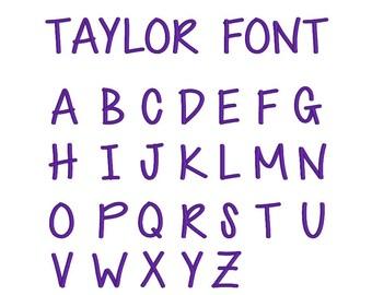 Taylor Font  -  PERSONALIZATION ADD-ON, Add embroidery to any shop item, personalization any shop item, monogram any shop item