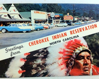 Vintage N C Postcard Cherokee Indian Reservation North Carolina Greetings