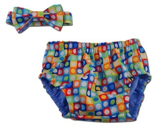 Baby Boy's Cake Smash Set with Dot Diaper Cover and Bow Tie -  F83