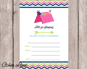 Instant Download Fill In the blank Glamping Birthday Invitation. Fill in Invitations. Girl Camping Party Invitation. Camping Party Invite.
