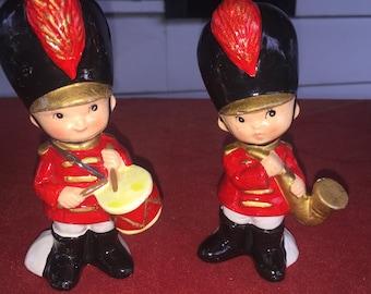 RARE Vintage ceramic Christmas Drummer boy/ saxophone player band player figurines