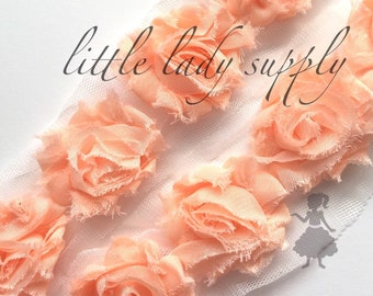 "SHOP CLOSING 2 yards Pastel Peach mini shabby flower trim, PETITE 1.5"", wholesale, headbands, flowers, shabby trim, shabby flowers"