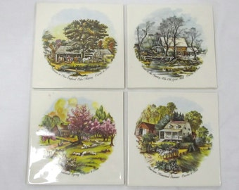 Set Of 4  Ceramic Trivets Tiles Currier & Ives 4 Seasons Spring, Summer, Fall, Winter