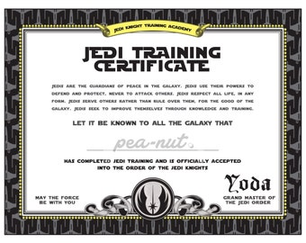 Star Wars Birthday | Jedi Training Certificate | printable | DYI