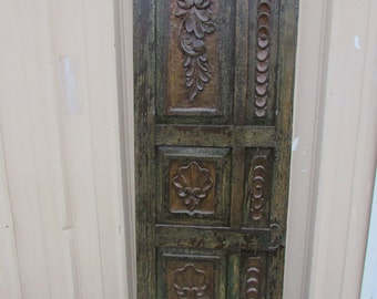 Antique Mexican Carved Old Door-Primitive-Rustic-26x77-Headboard-Side Table-Gorgeous-Green-Weathered Patina