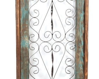 Spanish Architectural Window-Small-Wall-Primitive-Rustic-Garden-Patio-19x39-Turquoise-Handmade