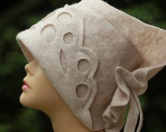Womens bucket hat white spring hat asymmetrical brim travel beach hat white cloche Handmade womens spring hat soft fabric hat sewn cloche
