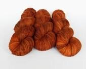 Hand dyed sock yarn, fingering weight yarn, High Twist 75/25 superwash merino wool/nylon - 'Fraser' kettle dyed yarn