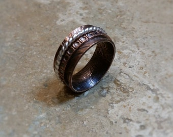 Copper Spinner Ring, Mixed Metals