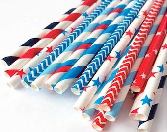 Patriotic Straws (25), Nautical Straws, 4th of July Straws, Red White & Blue Straws, 4th of July Decor, USA Flag, Veterans, American Flag