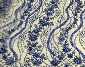 Royal blue hollywood shine embroider and heavy beading on a mesh lace -yard