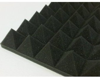 "Pyramid Acoustic Foam (Single) 2"" 24"" x 24"" 2' x 2' covers 4 sq Ft - Sound Proofing/Blocking/Absorbing Acoustical Foam - Made in the USA!"