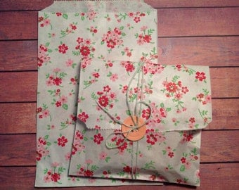 Large paper bags, floral paper bags, set of 20 large paper bags