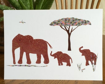 Elephant Card, African card, baby card, kids card, cut paper art, whimsical, african art, african animal card, greeting card children