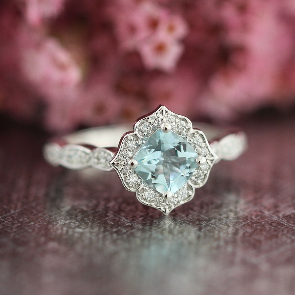 Mini vintage floral aquamarine engagement ring in 14k white for Wedding rings aquamarine